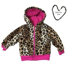 CCO - HEALTHTEX Girls LEOPARD & Pink Hoodie Jacket